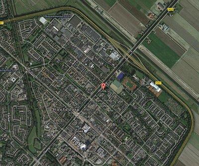 Een luchtfoto met daarop de locatie van Fysio Cura Plaza